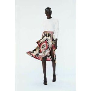 Zara Multicolor Pleated Midi Skirt Style 7955 Lg